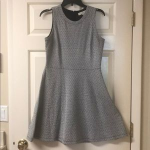 Loft Black and White Fit and Flare dress, size 6